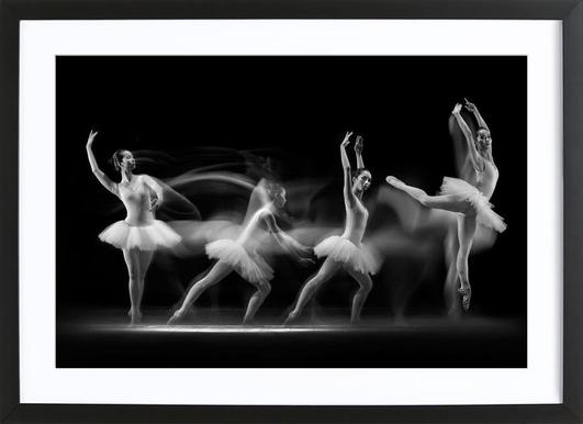 Ballerina Art Wave - Poster in Wooden Frame