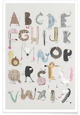 Babykamer dierenalfabet poster