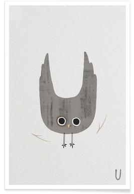 Animal Alphabet U Poster