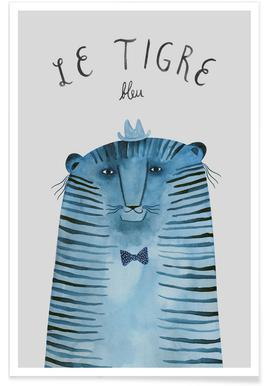 French Animals Tigre affiche