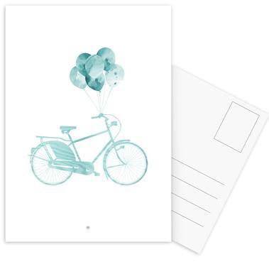 Bike & Balloons   Blue -Postkartenset