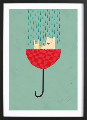 Umbrella bath time! Framed Print