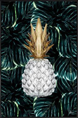 Ananas Gold -Bild mit Kunststoffrahmen