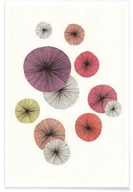 Line Art Blossom violet - Premium poster