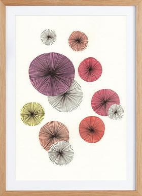Line Art Blossom violet - Affiche sous cadre en bois
