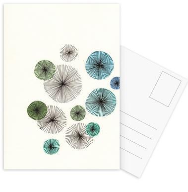 Line Art Blossom blue cartes postales