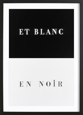Et blanc en noir -Bild mit Holzrahmen