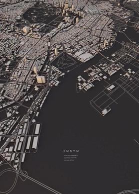Tokyo City Map canvas doek