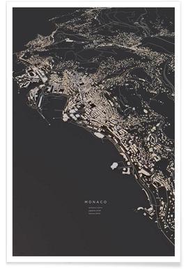 Monaco - 3-D stadskaart poster
