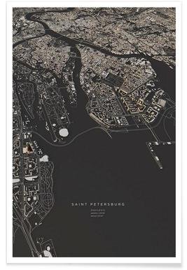 Sint-Petersburg - 3-D stadskaart poster