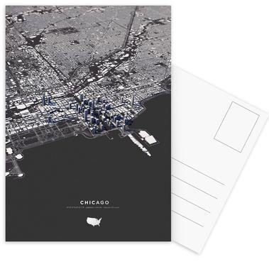 Chicago City Map Postcard Set