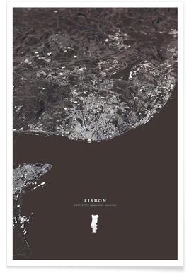 Lissabon - 3-D stadskaart poster