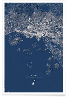 Oslo Color 3-D City Map Poster
