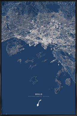 Oslo Color City Map Framed Poster