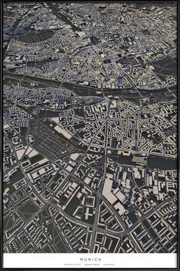 Munich City Map affiche encadrée