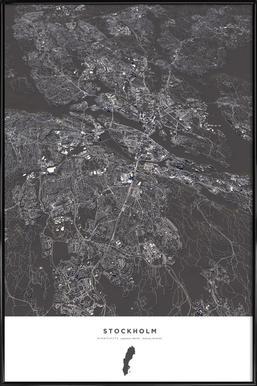 Stockholm City Map - Poster in kunststof lijst