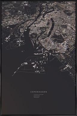 Copenhagen City Map Framed Poster