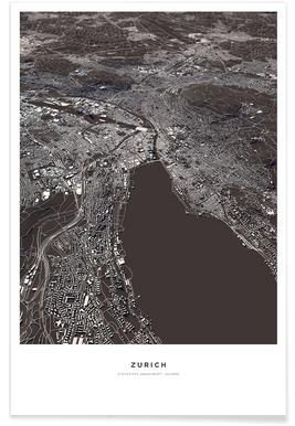Zurich 3-D Map Poster