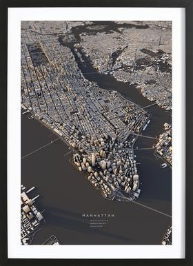 Manhattan III -Bild mit Holzrahmen