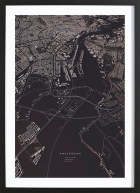 Amsterdam City Map ingelijste print