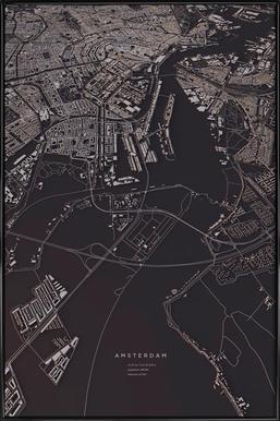 Amsterdam City Map - Affiche sous cadre standard