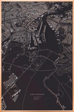 Amsterdam City Map poster in aluminium lijst