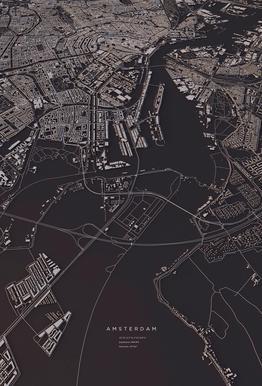 Amsterdam City Map alu dibond