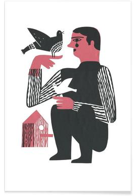 Man With Birds - Poster