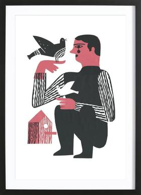 Man With Birds - Poster in Wooden Frame