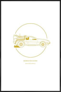 Delorean Time Machine ingelijste poster