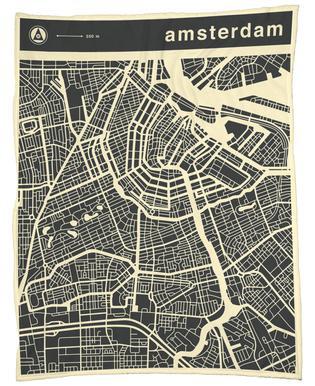 City Maps Series 3 - Amsterdam Fleece Blanket