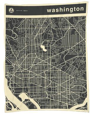 City Maps Series 3 - Washington Fleece Blanket