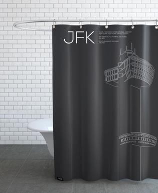 JFK New York Tower Black rideau de douche