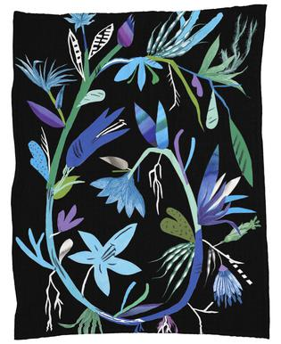 Botanica Clematis Black Fleece Blanket