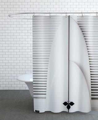 Beach Surf Board Symmetrie Shower Curtain