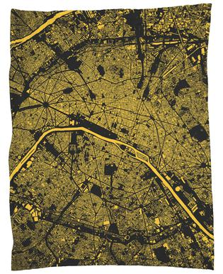 Paris Yellow Fleece Blanket