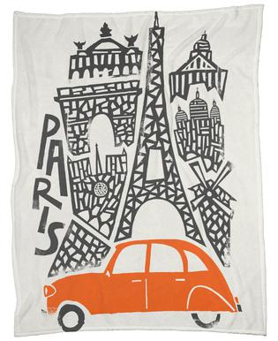 Paris Cityscape Fleece Blanket