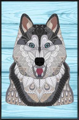 Happy Husky -Bild mit Kunststoffrahmen