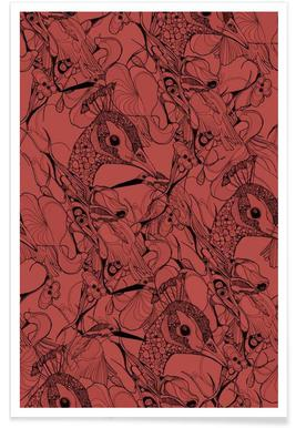 Peacock Red Poster