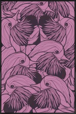 Birds Pink Framed Poster