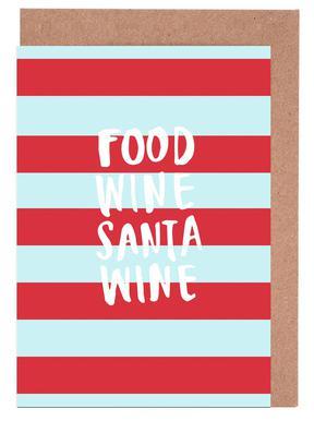 Food, Wine, Santa, Wine Greeting Card Set