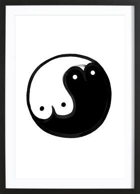 Boob Yin Yang -Bild mit Holzrahmen