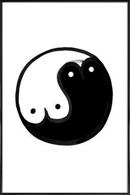 Boob Yin Yang -Bild mit Kunststoffrahmen