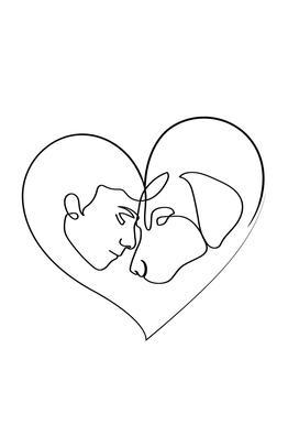 Dog Love Aluminium Print
