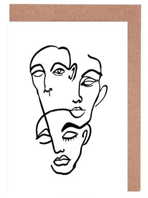 Faces 12 Greeting Card Set