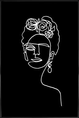 Frida Kahlo BW ingelijste poster