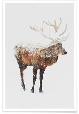 Arktischer Hirsch-Doppelbelichtung -Poster