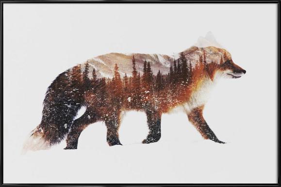 Artic Red Fox -Bild mit Kunststoffrahmen