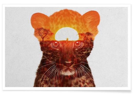 Leopard-Doppelbelichtung -Poster