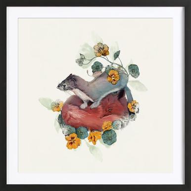 Stoat & Fox -Bild mit Holzrahmen